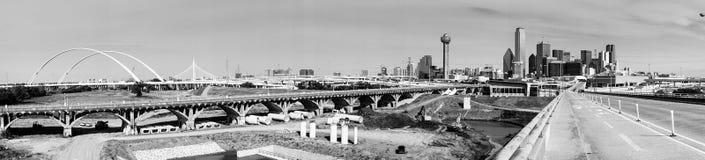 Panoramic Trinity River Basin Bridge Crossings Dallas Texas Skyline stock images