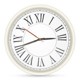 Classic black and white round wall clock isolated on white  Stock Photo