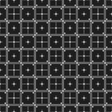 Classic black and white seamless patterns with squares crosses and lines. Dark background, endless texture. Can be used for wallpaper, pattern fills, web page Stock Images