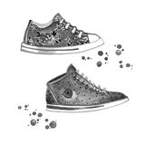 Classic Black and White Sneakers Stock Images