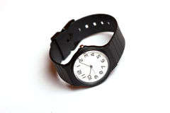 Classic black and white wrist watch Royalty Free Stock Photo