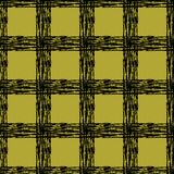 Classic black and yellow tartan fabric. Hand drawn seamless square pattern. Royalty Free Stock Images