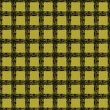 Classic black and yellow tartan fabric. Hand drawn seamless square pattern. Stock Image