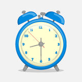 Classic blue alarm clock isolated on white background in cartoon style. Vector illustration. Holiday Collection. Royalty Free Stock Photo