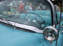 Classic blue American car details Royalty Free Stock Photography
