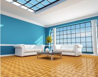 Classic blue beach house. Classic blue living room of a beach house - rendering Stock Photos