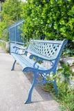 Classic blue bench outdoor stock photos