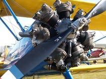 Classic blue biplane Stock Images