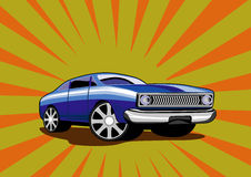 Classic blue car. Illustration of a classic 1960s car royalty free illustration