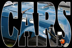 Classic blue car. Close up of word, cars on black background with letters filled with classic blue car royalty free illustration