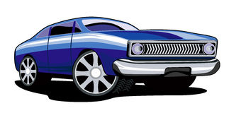 Classic blue car white bg. Illustration of a classic 1960s car vector illustration