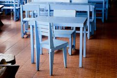 Classic blue chairs and tables Royalty Free Stock Photography