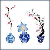 Classic blue china and flower Royalty Free Stock Photos