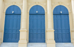 CLASSIC BLUE DOORS. OLD STYLE BLUE DOORS IN GRAND PALACE,   BANGKOK,THAILAND Stock Photos