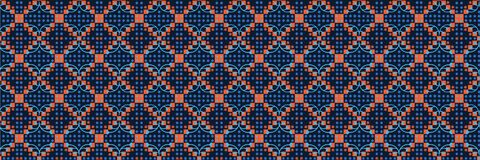 Free Classic Blue Floral Diamond Check Symmetry Motif Banner Background. Dark Abstract Flower Dot Mosaic Seamless Border Pattern. Royalty Free Stock Photos - 173263608