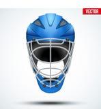 Classic blue Goalkeeper Hockey field Helmet  on Background. Royalty Free Stock Image