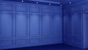 Classic blue interior with copy space. Red walls with classical decor. Floor parquet herringbone. 3d rendering. Classic blue interior with copy space. Red walls royalty free illustration