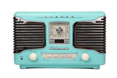 Classic blue retro radio isolated Stock Photography