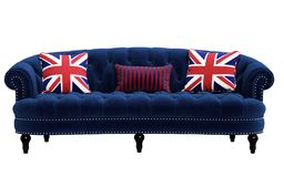 Classic blue sofa,pillows with british flag pattern isolated on white backgroun. D. Digital illustration.3d rendering Royalty Free Stock Images