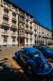 Classic Blue Volkswagen Beatle parked on the street in the historic centre of Milan, Italy stock photography