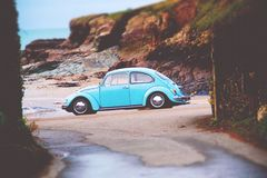 Classic Blue Volkswagen Beetle Royalty Free Stock Photography