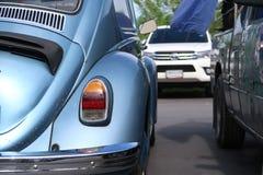 A classic, blue Volkswagen Beetle car. BANGKOK, THAILANDS - July 11 ,2018 : A classic, blue Volkswagen Beetle car parking at the market car park, Bangkok stock image