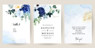 Free Classic Blue, White Rose, White Hydrangea, Ranunculus, Anemone, Thistle Flowers Royalty Free Stock Images - 171856449