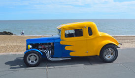 Classic Blue and Yellow Hotrod Royalty Free Stock Images