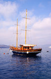 Classic boat. Old boat for cruise on Santorini island, Greece stock images