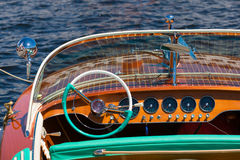 Classic boat dashboard with instruments Stock Photos