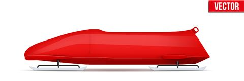 Classic Bobsled for two athletes. Side view. Bobsled Sport Symbol. Classic red sleighs for two athletes. Side view. Sporting equipment for Bobsleigh and Royalty Free Stock Image