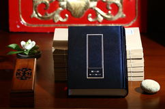 Classic books. The ancient classic books and Incense and flowers Stock Images
