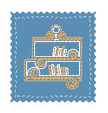 Classic bookshelf with books vector illustration in flat style. Neon Bookshelf flat icon Royalty Free Stock Images