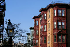 Classic Boston. Beautiful classic scene of old boston, showing gas lamp and brownstone high rise apartments Royalty Free Stock Photography