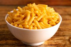 Classic Boxed Mac and Cheese in a Bowl. Classic Boxed Mac and Cheese in a White Bowl stock photography