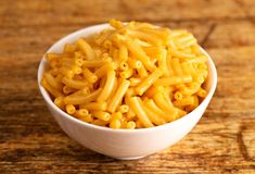 Classic Boxed Mac and Cheese in a Bowl. Classic Boxed Mac and Cheese in a White Bowl royalty free stock image