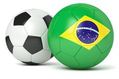 Classic and Brazilian soccer balls. On white background Stock Image