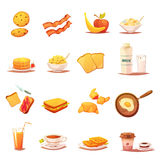 Classic Breakfast Elements Retro Icons Set Stock Image