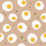 Classic breakfast meal fried egg seamless pattern Stock Photos