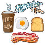 Classic breakfast motel advertisement retro poster with bacon toast and fried eggs vector illustration Stock Image