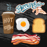 Classic breakfast motel advertisement retro poster with bacon toast and fried eggs vector illustration Stock Photography