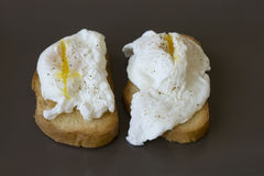 Classic breakfast - poached eggs on toast on a brown plate Stock Images