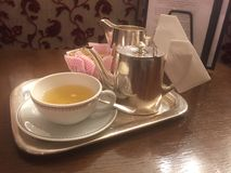 Classic breakfast tea tray. Tea cup time Royalty Free Stock Images