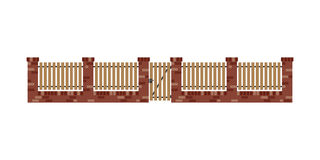 Classic brick fence with wood planks and gate Stock Image
