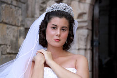 Classic Bride. Portrait of classic bride against old fashioned stone wall stock image