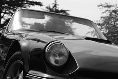 Classic British Convertible Sports Car. Black and white photo of a classic British TVR sports car. Taken at a Summer Classic Car show in the UK Royalty Free Stock Photography