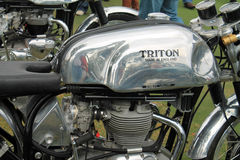 Classic british motorcycle. Classic british triton motorcycle fuel tank and eight valve engine Stock Photography