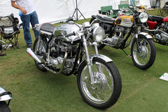 Classic british motorcycles lined up at event 2 Royalty Free Stock Photos