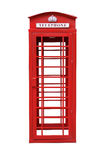 Classic British Red Phone Booth isolated on white Royalty Free Stock Images