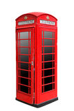 Classic British red phone booth in London UK, isolated on white Royalty Free Stock Images